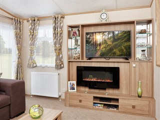 2019 Carnaby Oakdale Static Caravan Holiday Home lounge fireplace