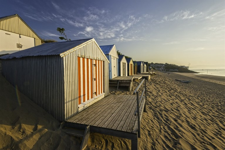 Beach huts at sunrise, Abersoch