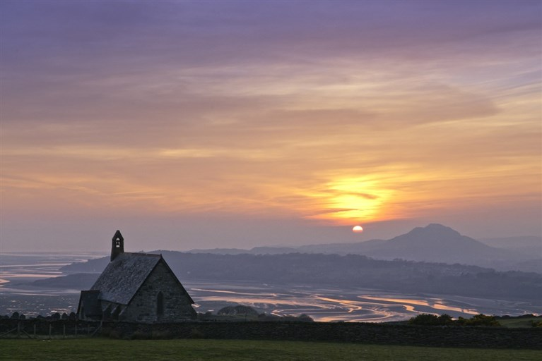 Llandecwyn church and Dwyryd estuary at sunset, Llyn Peninsula