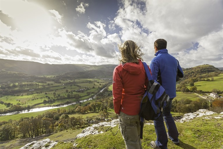 Walking on Offa's Dyke Path, overlooking the Vale of Llangollen