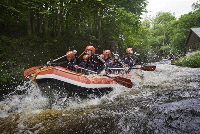 White water rafting at Canolfan Tryweryn National White Water Centre near Bala