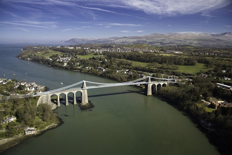 Aerial view of Menai Bridge